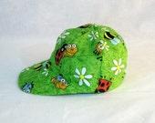 Baseball Hat -Bugs 2 -  green - cotton