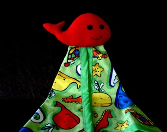 Security Blanket -  green flannel- Whale- under the sea - Clearance