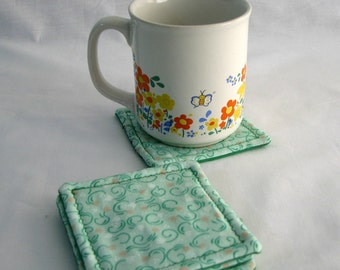 Drink Coaster - green - swirls - fabric- set of 4- reversible