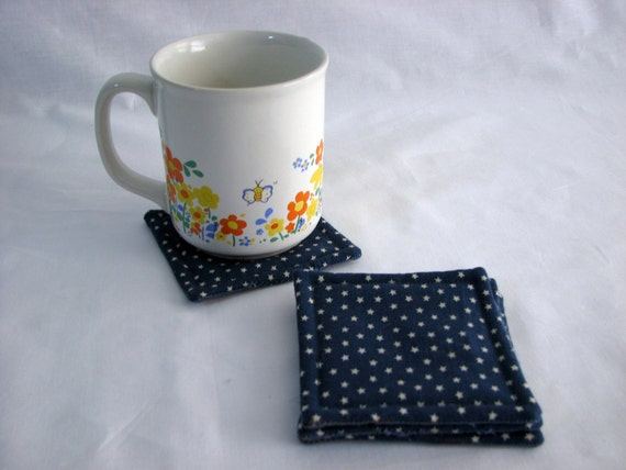 Drink Coaster - stars - blue - fabric- set of 4- reversible