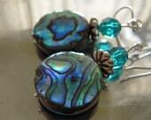 Abalone, Swarovski and Sterling Earrings