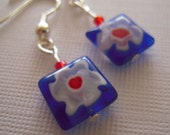 Blue, Red and White Millefiori Glass Flower Earrings on Silver