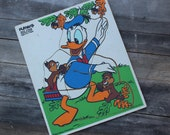 """Vintage Wooden Playskool Walt Disney Productions """"DONALD DUCK"""" Frame Tray Puzzle"""
