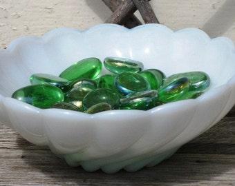Vintage Swirled Milk Glass Candy Dish, Vintage Trinket Dish, Vintage Milk Glass