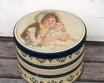 Vintage Tin Container, Lisa and the Jumeau Doll 1984 B&J Art Designs Metal Tin, Collectible Tin