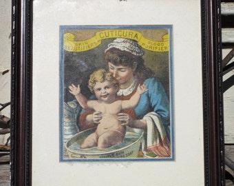Vintage CUTICURA Advertisement Wooden Framed Artwork, Paper Ephemera, Antique Artwork