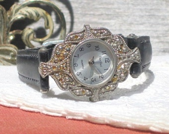 Vintage Pierre Nicol Quartz Marcasite Ladies Watch, Norwegian Leather Band, Japan Movement, AS IS, Not Tested