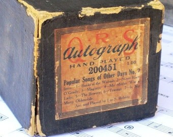 Vintage AUTOGRAPH Q.R.S. Piano Word Roll 200451 - Popular Songs of Other Days No. 2, Altered Art, Recycle, Upcycle, Arts and Crafts