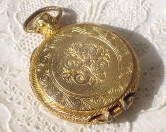 Vintage Perfume Gold Tone Pocket Watch Style Locket Pendant
