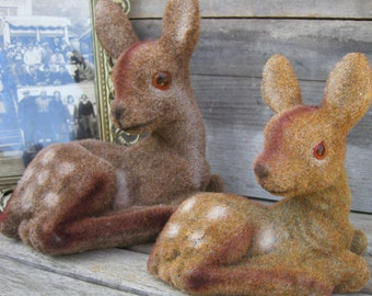 Vintage Felt Fawn Deer with Glass Eyes, Mother and Child, Pair of Fawn Deer, Christmas Decor, Holidays Decor, Treasury Item