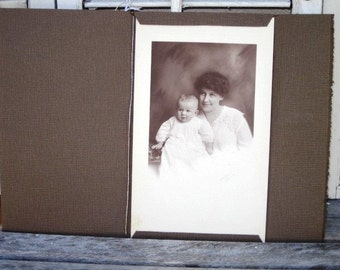 Vintage Photo, Antique Mother and Child Photograph, Framed and Signed Goddard Akron, Black and White Photo, Mother and Child