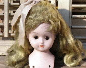 Vintage Adorable Shoulder Head Bisque Doll with Blonde Wig - Cute Doll, Pretty Doll, Shoulder Head Doll, Treasury Item
