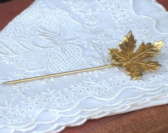 Vintage Maple Leaf Stick Pin Gold Tone Metal, Canadian Maple Leaf, Vintage Ladies Jewelry