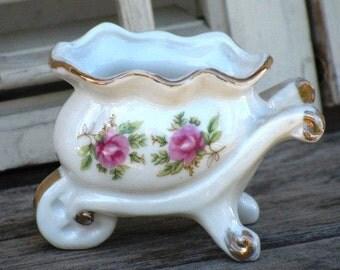 Vintage Porcelain Trinket Holder, Wheelbarrow Trinket Rings 'N Things, Shabby Chic Decor, Christmas Gift Idea