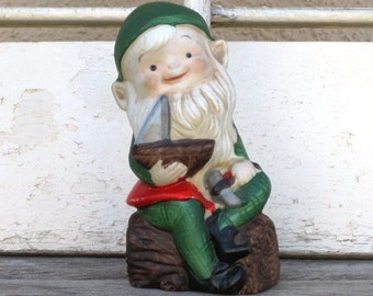 Vintage HOMCO 5205 Santa's Elf - Santa's Helper, Christmas Gift, Holidays, Christmas Decor, Red and Green Elf, Treasury