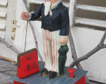 Vintage Uncle Sam Plastic Mechanical Bank - Replica, Reproduction, Patriotic Figure, Americana, Treasury Item