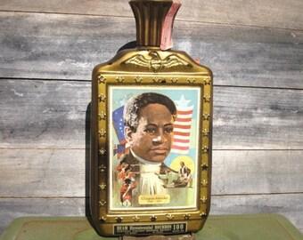 Vintage Jim Beam Bourbon Bottle, Crispus Attucks, Beam Distilling Co., Gold Collectibles Bottle, Black History