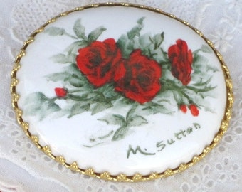 Vintage ARTIST SIGNED Hand Painted M. Sutton Porcelain Red Roses Brooch Pin, Oval Brooch