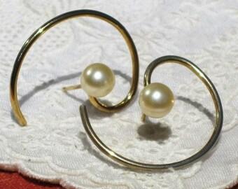 Vintage Goldtone Faux Pearl Spiral Wire Pierced Earrings, Spiral Wire Earrings, Abstract