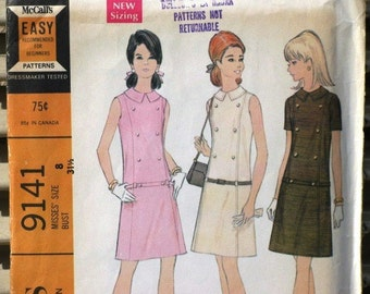 Vintage 1960s Mod McCall's Printed Sewing Pattern 9141, Supplies, Commercial