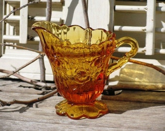 Vintage Marigold Carnival Glass Ribbed and Footed Creamer, Autumn Colors, Fall Colors, Harvest, Treasury