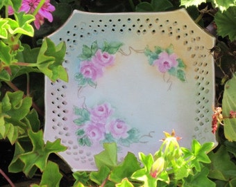 Vintage Trinket Candy Dish Porcelain Hand Painted Octagonal Footed, Pink Roses Plate, Treasury Item