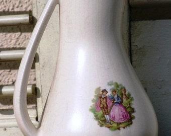 """Vintage Fragonard Limoges France """"TWO LOVERS"""" Jug Vase, Vintage Pitcher Vase"""