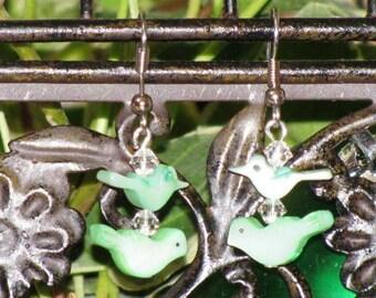 Vintage Fetish Bird Earrings with Swarovski Crystals, Handmade Dangle Earrings, Green Fetish Birds Earrings