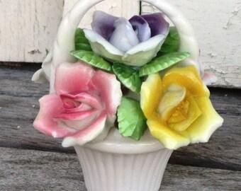 On Sale - Vintage Salt Pepper Shaker, Bone China, Porcelain,  Basket of Roses Shaker, Bouquet of Flowers, Treasury Item