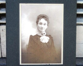 """Antique Framed Photograph of """"The Stern Librarian"""" - Antique Photo, Black and White"""