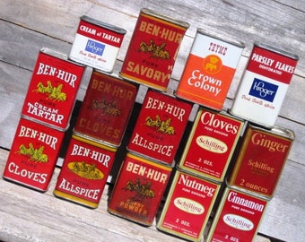 Vintage Spice Containers - Collection, Lot of 14, Ben-Hur, Schilling, Kroger, Crown Colony, Retro Kitchen Decor, Collectibles, Treasury