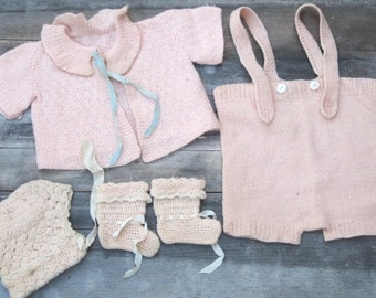Vintage 1920s 5-PC Pink Baby Outfit