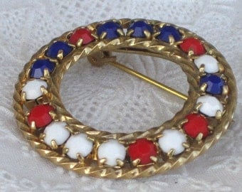 Vintage Red White and Blue Round Americana Brooch with Opaque Rhinestones, Patriotic Brooch