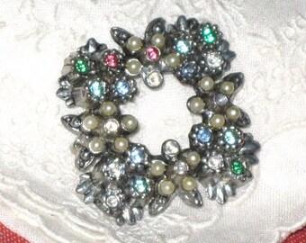 Vintage Rhinestones and Faux Pearls Brooch - AS IS