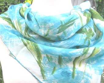"""Vintage Silk Scarf Aqua, Blue Full 30"""" x 28"""" Silk Scarf, Spring Womens Scarf"""