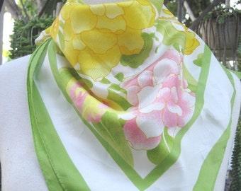 "Vintage Avon S M Kent Floral 27"" x 27"" Full Scarf, Womens Spring Scarf"
