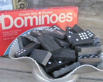 Vintage Double Nine Wooden Dominoes, Complete Set 56 Large Hardwood Engraved Dominoes