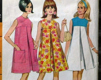 Vintage Sewing Pattern, McCall's 8755, 1960s Misses' and Junior Dress in Three Versions