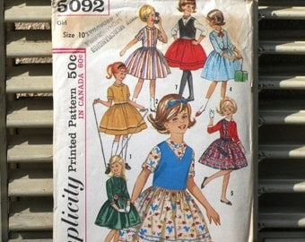 Vintage Simplicity 5092 Printed Sewing Pattern, Girls Seven Day Wardrobe, Supplies, Commercial