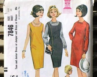 Vintage McCall's Printed Sewing Pattern 7846, Teen and Junior Dress, Jumper, Blouse, Supplies, Commercial