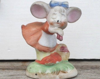 Vintage Mouse Picking Strawberries Bisque Figurine, Fine Porcelain, Kitschy