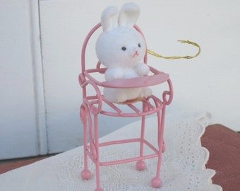 Vintage Avon The Spring Bunny Collection, Bunny in High Chair, Easter Decor, Holidays