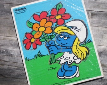 "Vintage Wooden Playskool Peyo ""SMURFETTE Spring Beauty"" Frame Tray Puzzle"