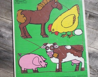 "Vintage Wooden Playskool Puzzle, ""FARM ANIMALS"" Frame Tray Puzzle"