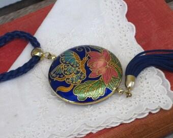 Vintage Cloisonne Necklace Butterfly Pendant