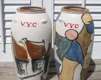 Vintage Signed Stoneware Earthenware Speckled V.Y.C Vase
