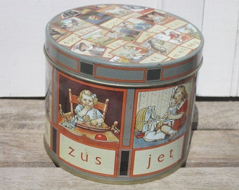 Vintage Dutch Tin with Flash Cards