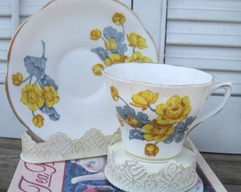 Vintage CLARE English Fine Bone China Scalloped Teacup and Saucer