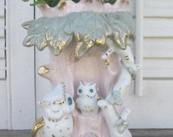 Vintage 1950s Kitschy Pink Owl Vase