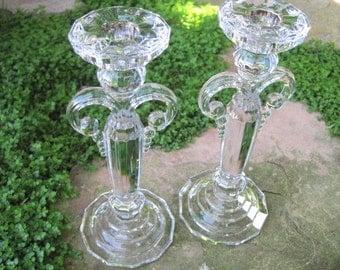 Vintage Crystal Chandelier Candlestick Holders - Pair